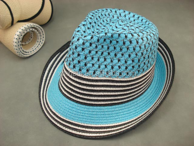 Cheap price custom excellent quality stylish navy paper fedora straw paper cap