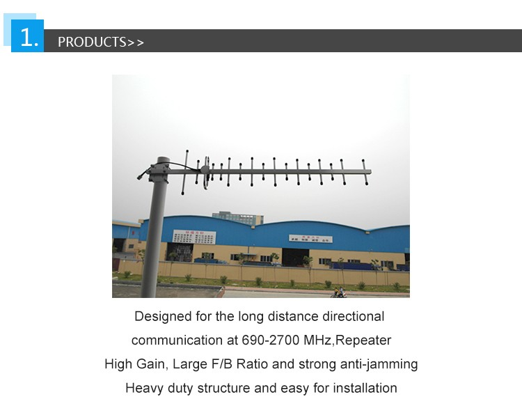 High Gain Strong Anti Jamming 690-2700MHz 10/14dBi 4G Yagi Antenna Easy For Installation