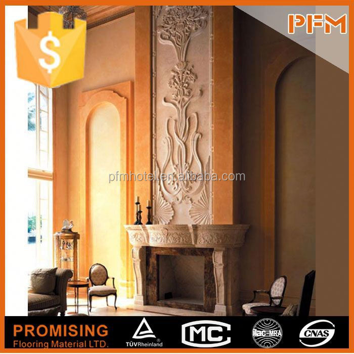 European style natural stone home indoor classic marble fireplace mantle