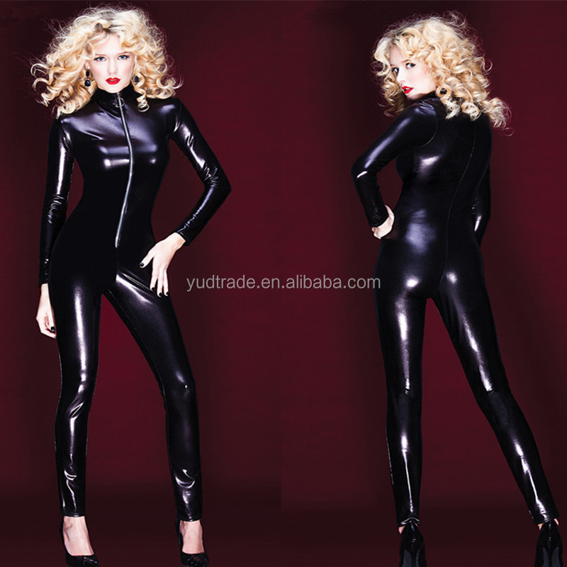 ONLine Resell Women Hot Sale Sexy Black Wet Look Leather Catsuit Plus M L XL Size