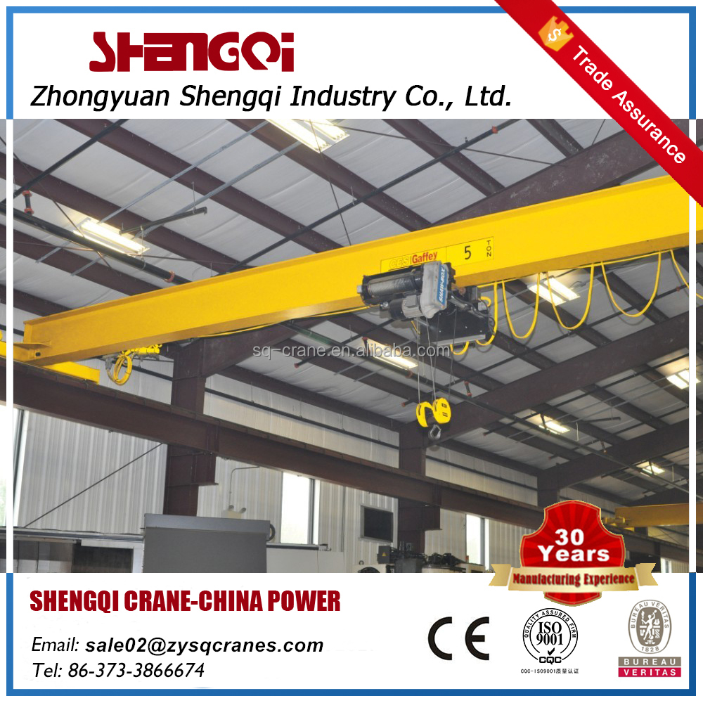 Low noise best factory workshop use 3ton 5ton 10ton single girder overhead bridge crane lifting machine with electric hoist