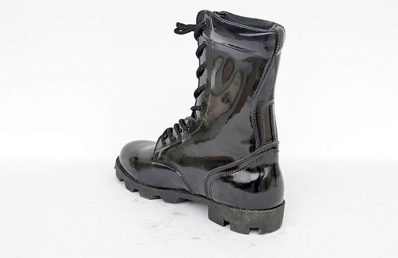 Black leather military tactical boots army combat boots high angle boots