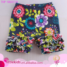Little Girl ' s New Bright Floral Printed Cotton Icing Ruffled Shorts Wholesale Children Baby Girl Knit Ruffle Icing Shorties