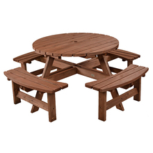 New 8 Seater Wooden Pub Bench Round Picnic Beer Table
