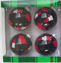 CGA hand decal Sexy red lipstick black shining glass Christmas ball ornaments shining mirror glass Christmas ball