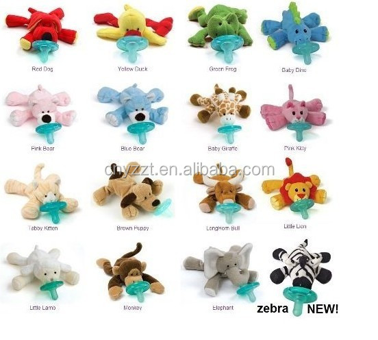 BPA FREE plush animal detachable pacifie baby toy with clip holder and squeaker