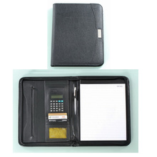 Leather portfolio compendiums filling organizer products with calculator