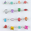 Different Colored Turquoise Stone Mixed Styels Alloy Silver Plated Ring