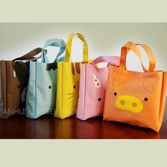 Popular colorful cartoon printed 600D tote shopping bag
