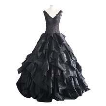 Black Crystal Beads Ruffled Ball Gown Wedding Dress Bridal Gowns