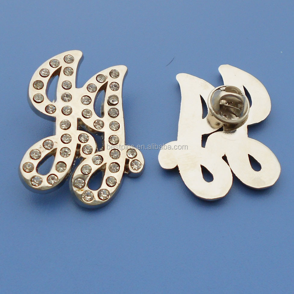 promotional gifts metal letters rhinestone brooch lapel pin with stones