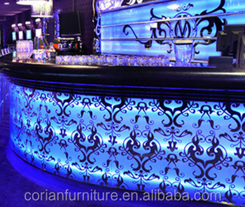 amazing LED water bubble bar counter front desk counter