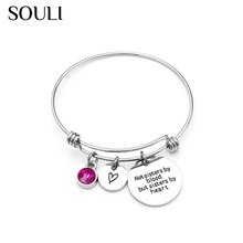 2018 New Stainless Steel Expandable Wire Charm Bangle Bracelet with Crystals
