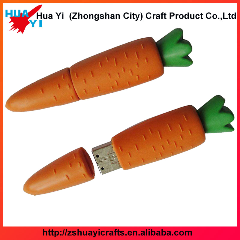 OEM/ODM wholesale wedding gift carrot shaped usb flash drive novelty design pvc usb stick