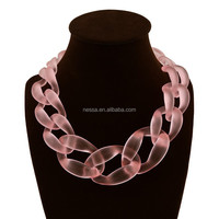 Fashion colored plastic chain link necklace 83001