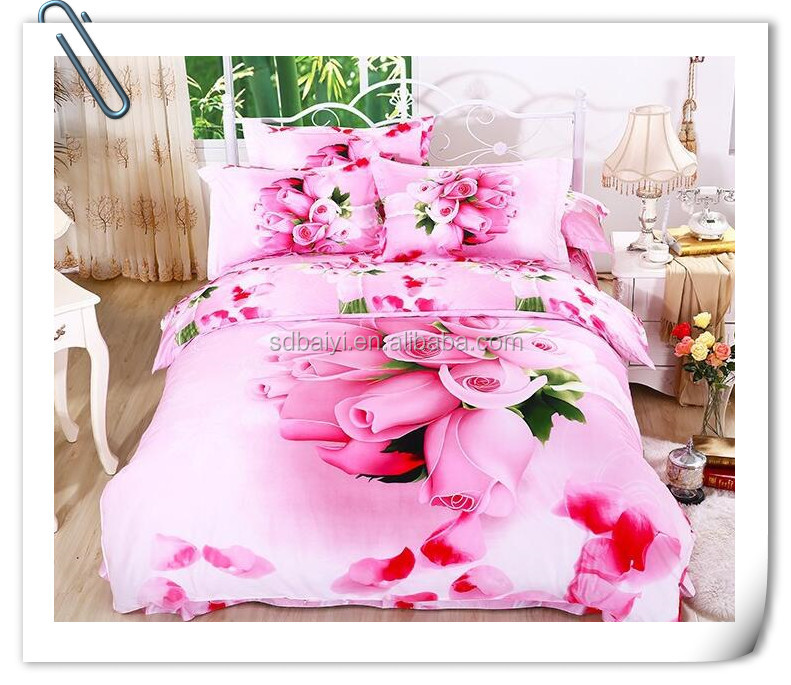 3d 4pcs Bright Colorful Bedding Set reactive printed flower design cover bed sheet, cotton bed sheet