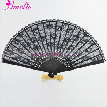 Gothic and Vintage Style Lace Fabric with Wood Ribs Japanese Amelie Hand Lace Fan