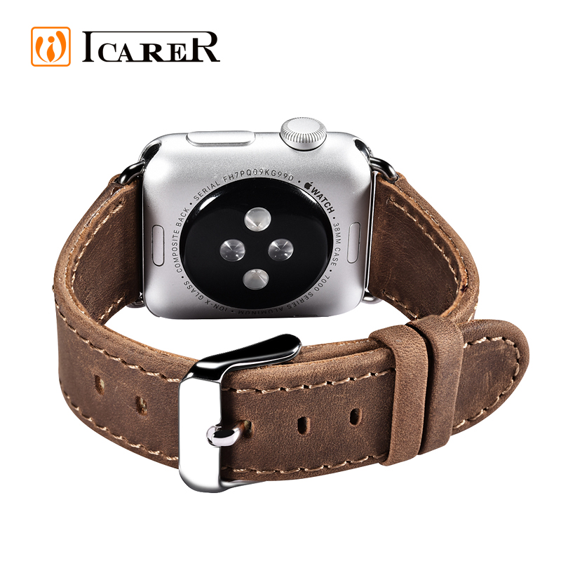 Luxury Leather Watch Band Strap For Apple Watch 38mm / 42mm Link Bracelet For iWatch With Adapter ICARER Brand