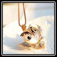 Lovely Angry Birds Owl Shape Opal Pendant With Gold Plated Long Chain Necklace Fashion Jewelry Wholesale