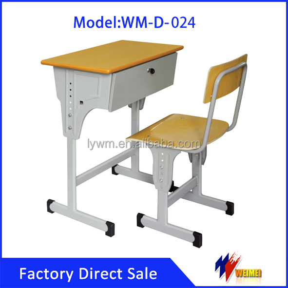 Metal single desk chair school adjustable height desk