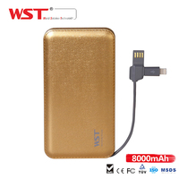 WST-DP622 emergency power bank 8000mah Cellphone charge built in cable mobile phone battery bank