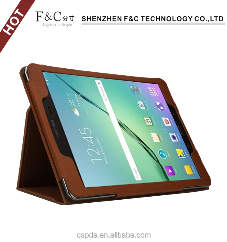Classical brown protective Folio PU Leather case for Samsung Galaxy Tab S2 9.7 tablet