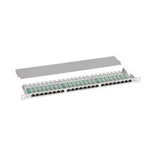 "High Density 0.5U 19"" 10 Gigabit Ethernet LSA IDC Networking shielded patch panel Cat6a 24 port RJ45"