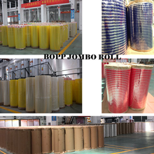 Europe market resealable adhesive tape HDPE film printed red line jumbo roll bopp tape