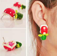 summer style polymer clay cartoon Bite ear stud earrings piranha flowers crocodile handmade 3D flower stud earrings