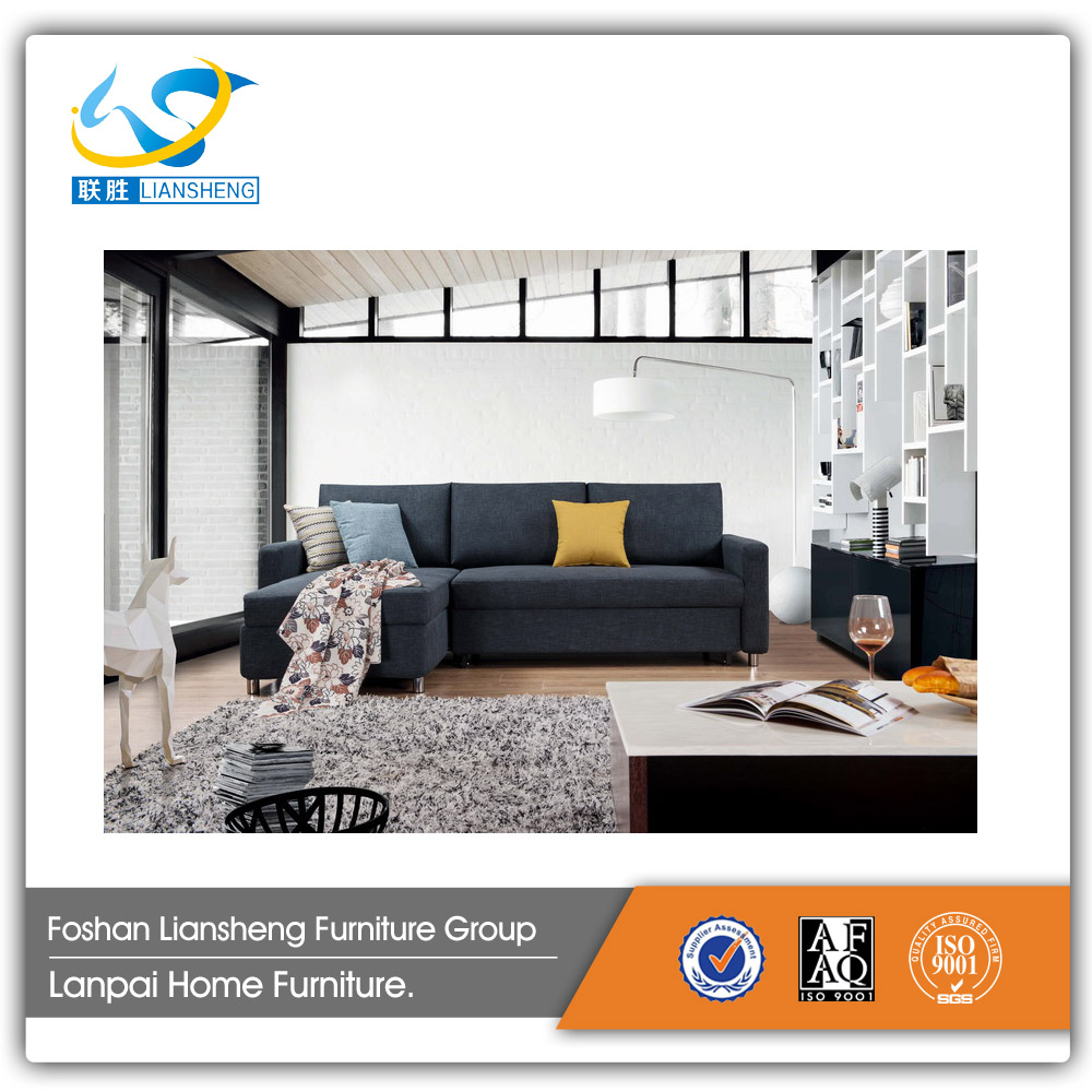 Fabric L-shape sofa bed with storage living room furniture
