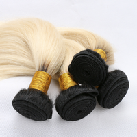 ombre black/blond popular color high quality 100% human indian remy hair weft three bundle full head