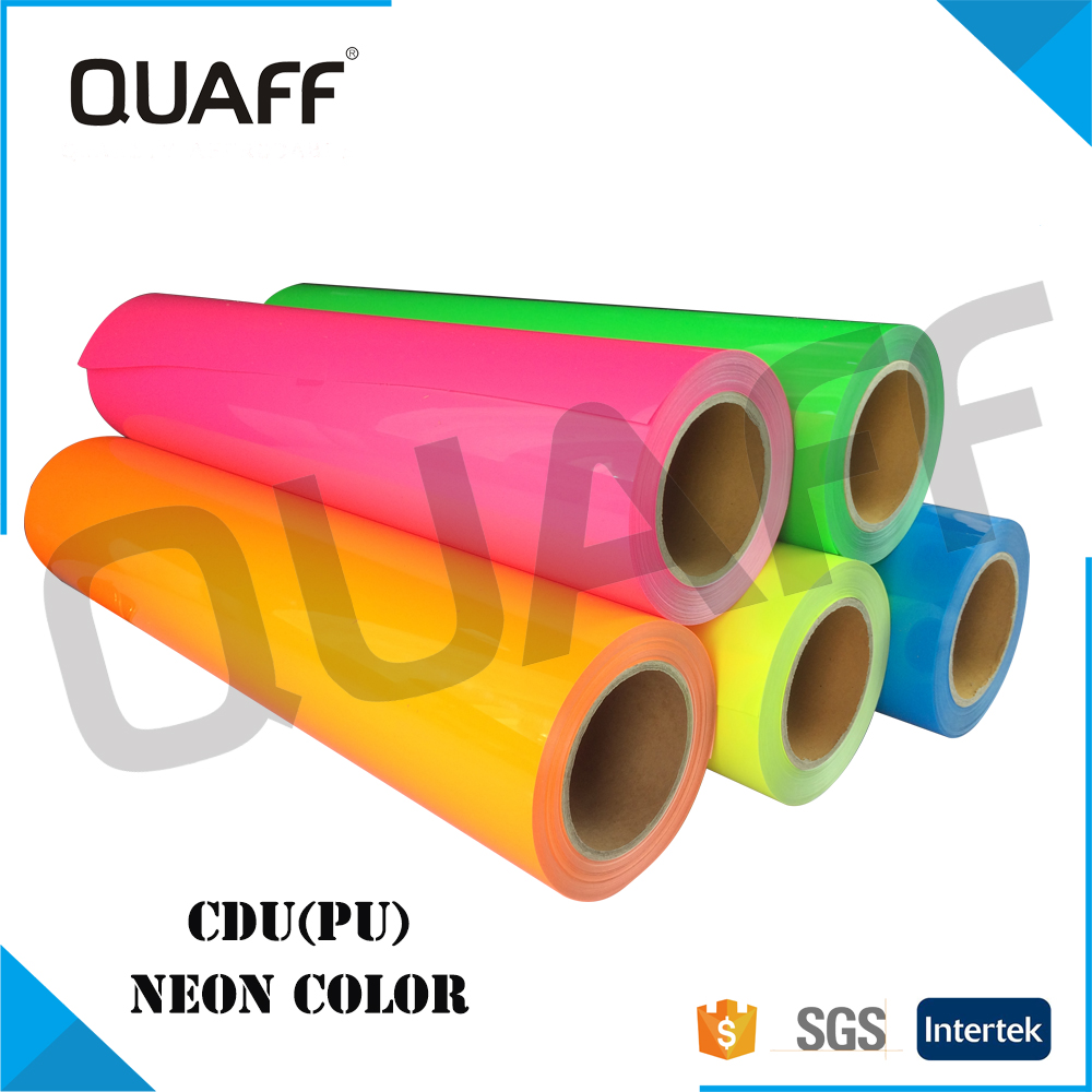 QUAFF Korea Quality PU Heat Transfer Vinyl For Clothing Neon Color