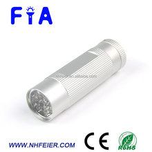 9LED matte white aluminum LED torch flashlight for camping, promotion