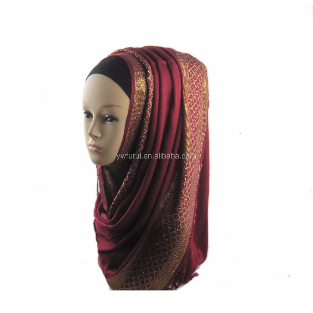 Hot Sale Beautiful Charming Women New Arrival Gold Many color Lurex Muslim Hijab Shimmer Glitter Shawls Viscose Scarf