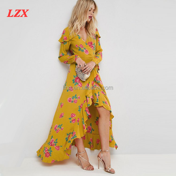 New fashion Long Sleeve Wrap Maxi Tea Dress in Bold Floral