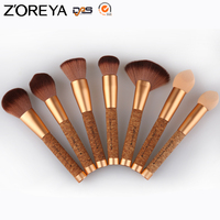 2016 New Private Label Zoreya Synthetic Nylon Hair Cork Handle Cosmetic Makeup Brush Set