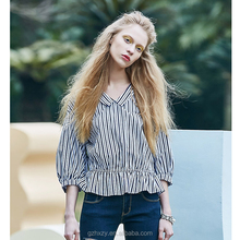 Korean style cotton black white striped blouse full hand designs for woman