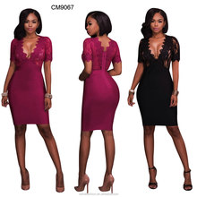 New design sexy girls short sleeve lace women maxi dress in stock make in China