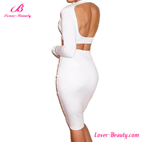 White open front two piece women summer bodycon midi dress