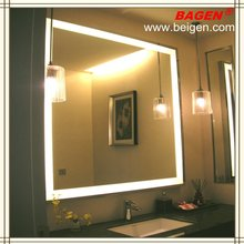 Framed mirror with lighting illumination for modern bathroom