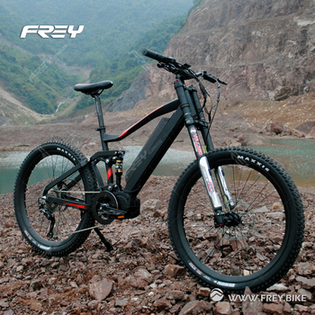 High end big power Bafang Mid drive electric mountain bike full suspension downhill bike with double crown fork.