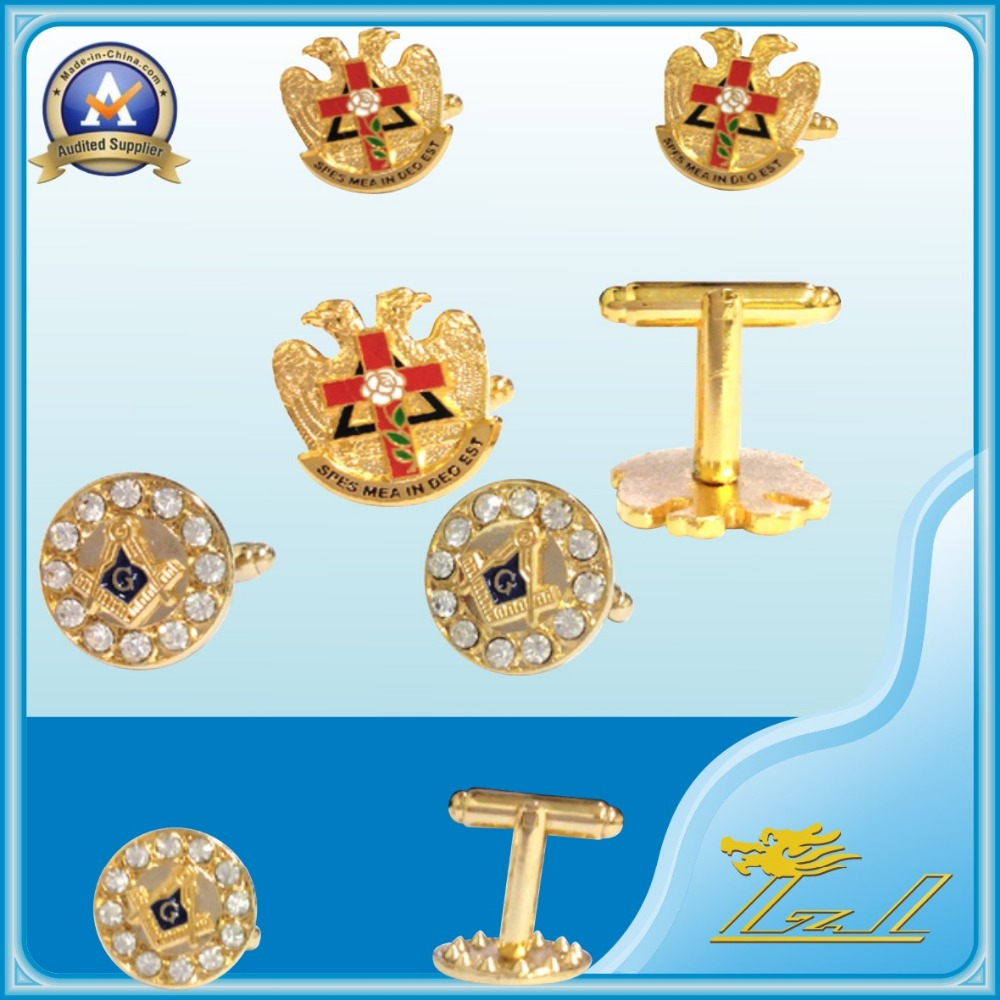 Popular bulk mens freemasonry enamel 3D gold 32 diamond gold jewelry masonic cufflinks