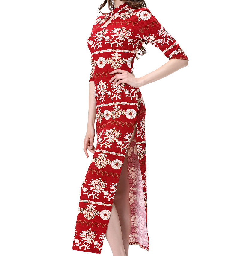 Chiese Cheongsam Style Design Customized Printing High Collar Elegant Dress