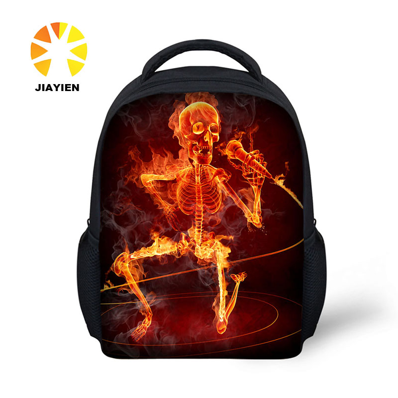 DIY 3D skull picture printing fashion back primary school bag