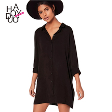 HAODUOYI Women Street Long Sleeve Mini Dress Female Turn Down Neck Ladies Casual T-shirt Dress For Wholesale