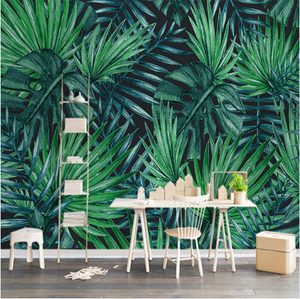 Hand Painted Silk Rainforest Plants Green Leaves Grasscloth Foto Wallpaper