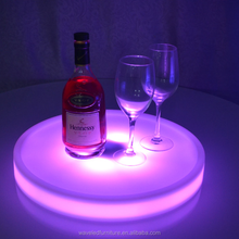 Glowing round plastic Bar Led Tray color change Light waterproof led serving tray