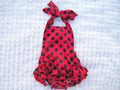 Hot sale ladybug satin bubble romper baby, cute baby polka dot rompers, halter romper for kids