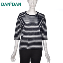Bulk customized casual long sleeve womens loose black white wholesale striped t-shirt