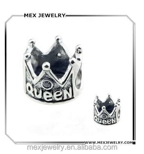 Wholesale 925 Sterling Silver Queen Crown Charms for European Bracelets